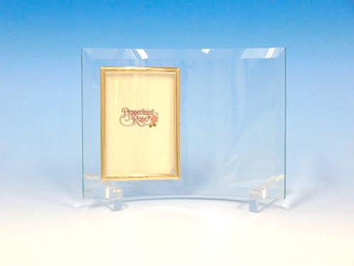 ガラスフォトフレーム足形彫刻(C)ゴールド [GF-03-AS]
