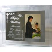【送料無料】当店一押し結婚、出産、誕生のお祝いにミラーに彫刻するフォトフレーム(写真立て)L版縦