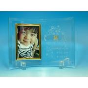 【送料無料】結婚、出産、入学祝いに彫刻曲面フォトフレーム(写真立て)L版縦(C)ゴールド